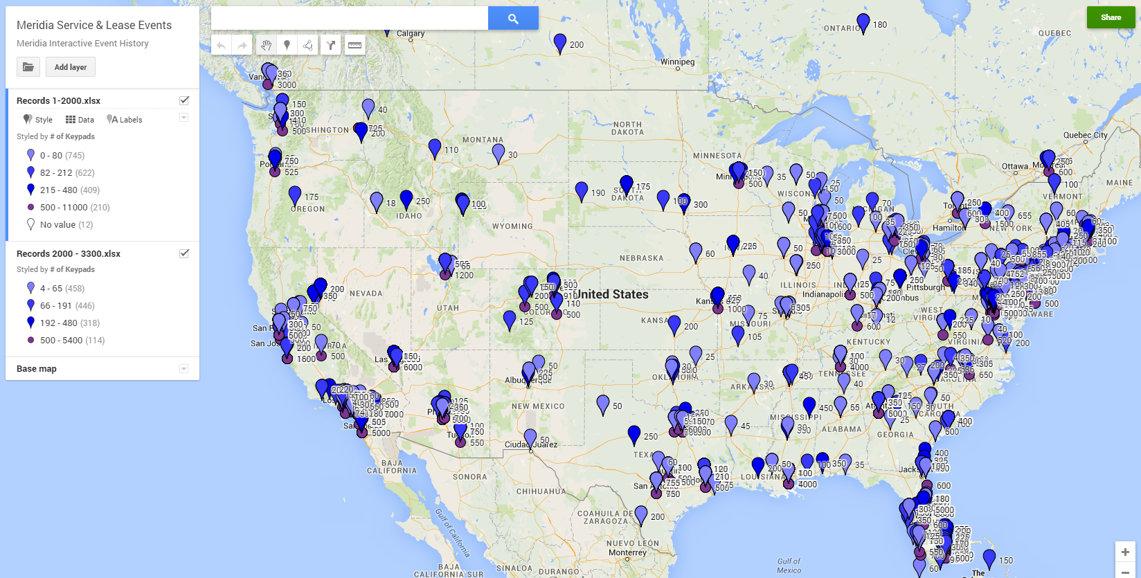 Map of Audience Response Events
